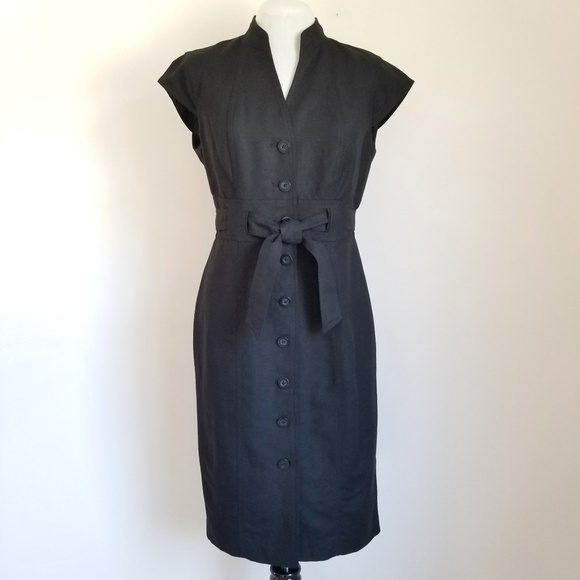 Calvin Klein Dresses & Skirts - Calvin Klein Black Linen Button Front Dress